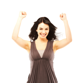 Happy beautiful woman with arms raised